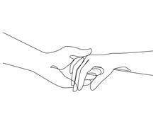 Holding Hands One Line Drawing On White Isolated Background. Vector Illustration