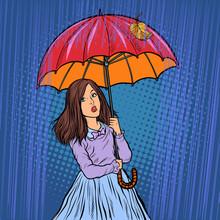 Girl In The Rain Under An Umbrella