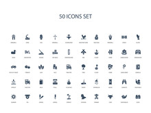 50 Filled Concept Icons Such As Eggs, Vegetables, Cow, Farmer, Chicken, Sprout, Cereal,cereal, Pig, Sunrise, Vegetable, Carrots, Seeds