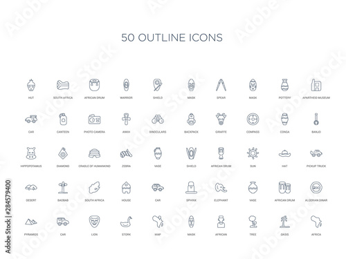Photo  50 outline concept icons such as africa, oasis, tree, african, mask, map, stork,