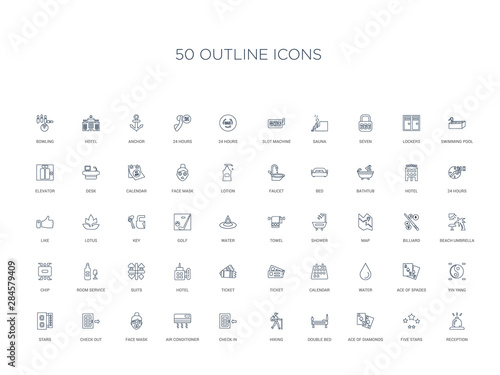 50 outline concept icons such as reception, five stars, ace of diamonds, double Wallpaper Mural