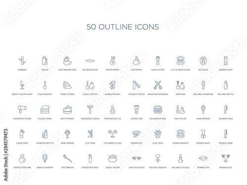 50 outline concept icons such as woman face, woman lips, inclined lipstick, incl Canvas Print