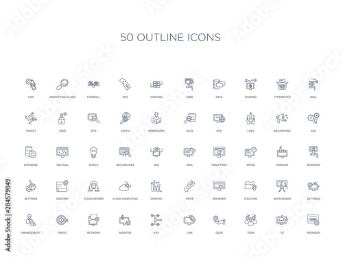 Photo  50 outline concept icons such as browser, de, team, gear, link, key, monitor,net