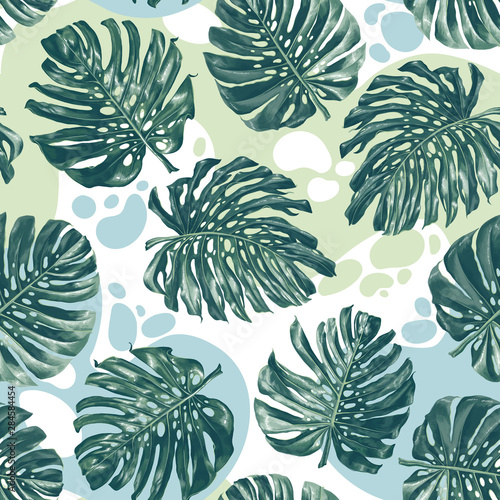 Seamless pattern with color splashes and monstera leaves in realistic style and high detail.  Trendy summer background for pattern, wallpaper, fabric, wrapping paper, t-shirt or clothes design.  Wall mural