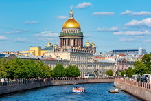 St. Isaac's Cathedral Dome And Moyka River, Saint Petersburg, Russia