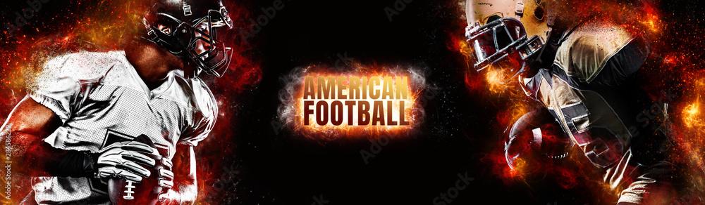 Fototapeta American football player. Sportsman with ball in helmet on stadium in action. Sport wallpaper. Team sports.