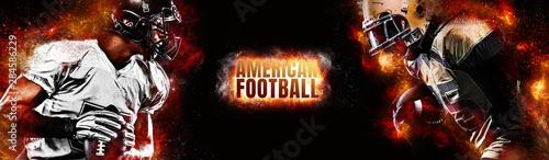 Fototapeta American football player. Sportsman with ball in helmet on stadium in action. Sport wallpaper. Team sports. obraz