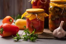 Homemade Jars Of Pickled Peppe...