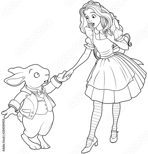 Poster Sprookjeswereld Alice and Rabbit