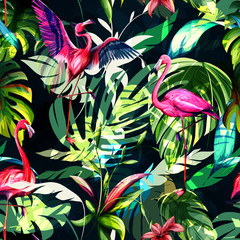 Panel Szklany Egzotyczne Seamless background floral pattern. Tropical leaves with three flamingos around on dark. Hand drawn, vector - stock.