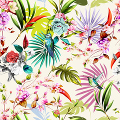 Panel Szklany Podświetlane Do pokoju dziewczyny Seamless floral pattern with humming bird, flowers and leaves on white tropical background. Hand drawn, vector - stock.
