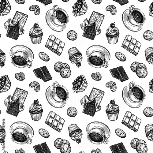 obraz dibond Seamless pattern with cup of tea and desserts