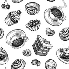 Seamless Pattern With Sweets A...
