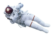The Astronaut, With The Device In Hands, In A Space Suit, Isolated On A White Background. Elements Of This Image Were Furnished By NASA