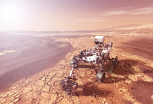 Mars Rover Explores The Surface Of The Planet Mars. Elements Of This Image Were Furnished By NASA