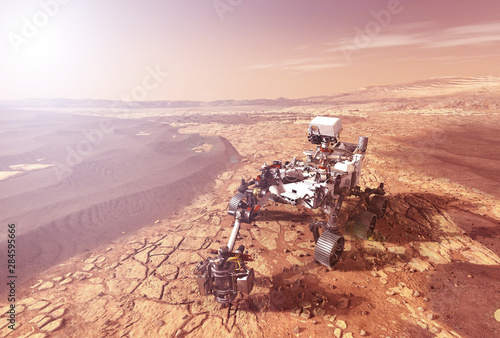 Mars rover explores the surface of the planet Mars Tableau sur Toile