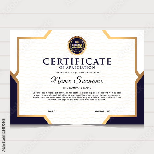Fotomural elegant blue and gold diploma certificate template
