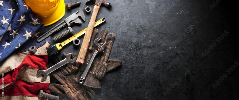 Fototapety, obrazy: Construction and manufacturing tools with patriotic US, USA, American flag on dark black background