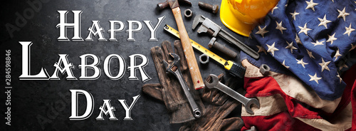 Poster Equestrian Happy Labor day background with construction and manufacturing tools with patriotic US, USA, American flag background - Happy Labor Day