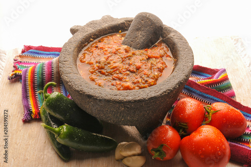 Mexican salsa with tomato and garlic chili made in molcajete Wallpaper Mural