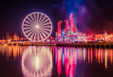 Fototapeta Fototapeta Londyn - Iluminacje świetlne dźwigary