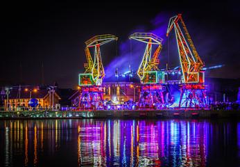 Panel Szklany Miasto Nocą Iluminacje świetlne dźwigary