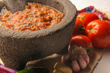 Mexican Salsa With Tomato And Garlic Chili Made In Molcajete