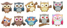 Owl Vector Set Graphic Clipart...