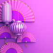 canvas print picture - Pink violet pastel chinese paper fan, lampion lantern. Design creative concept of chinese festival celebration gong xi fa cai. 3D rendering illustration.