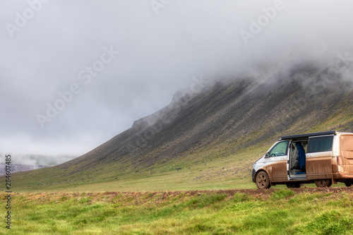 extreme camping in a volkswagen california on iceland Wallpaper Mural