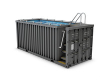 Converted Old Shipping Container Into Swimming Pool, Isolated White 3d Illustration
