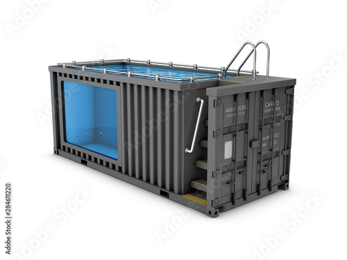 Pinturas sobre lienzo  Converted old shipping container into swimming pool, isolated white 3d Illustrat