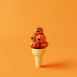 Leinwanddruck Bild - Happy Halloween pumpkins Ice cream. Creative idea minimal concept. 3d rendering