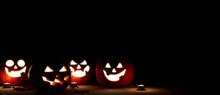 Jack O Lantern In The Night Halloween. 3d Rendering