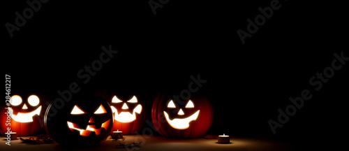 Spoed Fotobehang Halloween Jack O Lantern in the night Halloween. 3d rendering