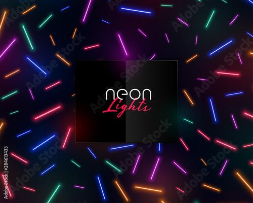 Poster Echelle de hauteur colorful neon confetti lights shiny background design
