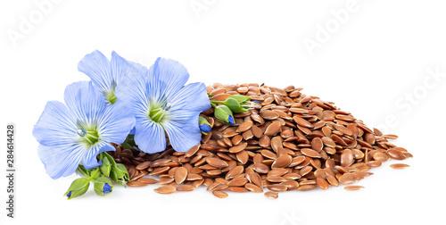 Obraz heap of flax seeds and flowers - fototapety do salonu