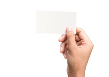 Male Hand Holding A Blank Business Card On A Pure White Background For Text Or Design. Blank Credit Card Templates For Contact Or Use In Business. ( Clipping Path )
