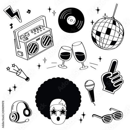 Fotomural  Hand drawing styles disco items. Disco doodle