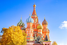 Saint Basil Cathedral At Red Square In Moscow, Russia Autumn. Travel Concept