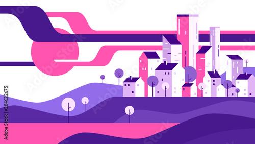 Foto auf Gartenposter Violett Abstract geometric flat style cityscape. Vector illustration