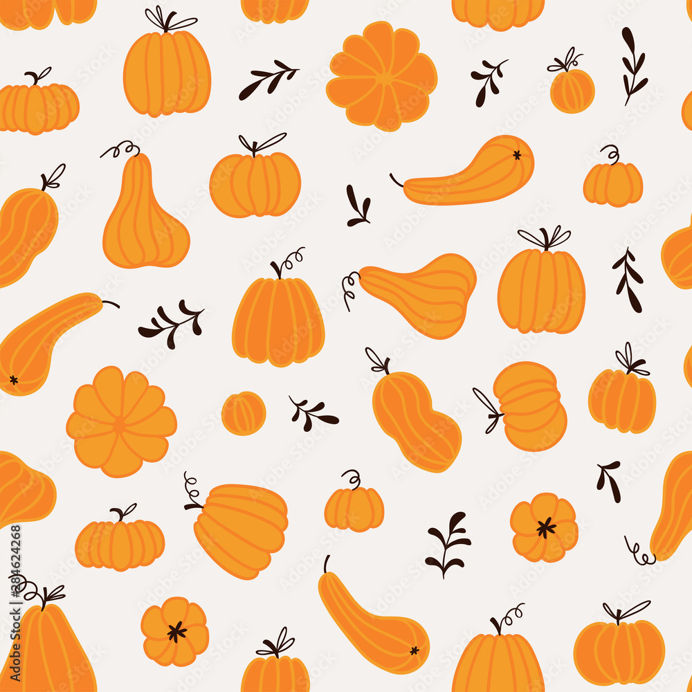 Fototapety, obrazy: Seamless pattern with hand drawn pumpkins and leaves. Cute design  for Halloween or Thankful day. Vector vegetable illustration.