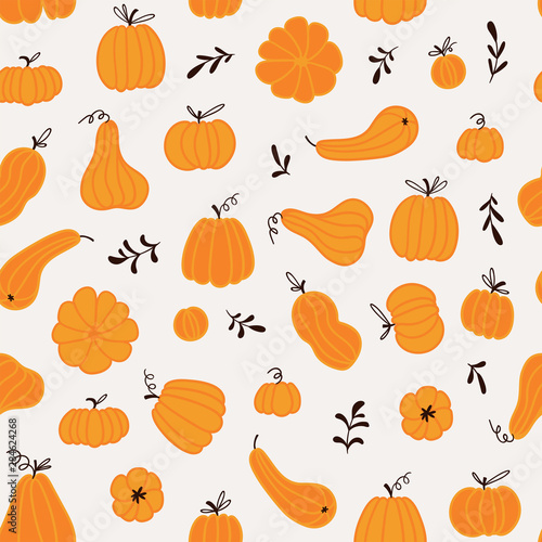 Seamless pattern with hand drawn pumpkins and leaves. Cute design  for Halloween or Thankful day. Vector vegetable illustration. Wall mural