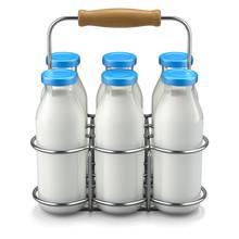 Milk Bottles In Wire Basket - 3D Illustration