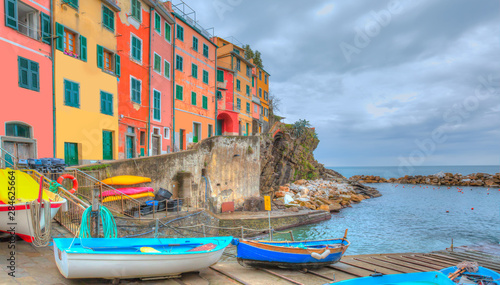 Manarola town, Cinque Terre Italy at the Ligurian Sea Poster Mural XXL