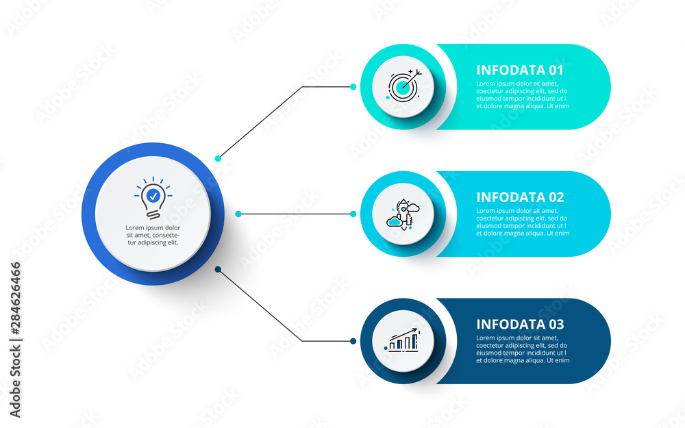 Fototapeta Three circles infographic elements. Business template for presentation. Vector flowchart concept with 3 options or steps.