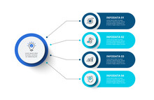 Four Circles Infographic Elements. Business Template For Presentation. Vector Flowchart Concept With 4 Options Or Steps.
