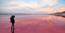 Maharlu Pink Lake At Sunset - Shiraz, Iran