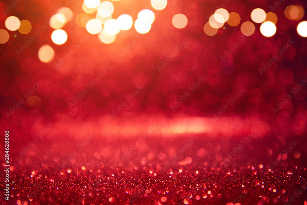 Fototapety, obrazy: Christmas xmas background red abstract valentine, Red glitter bokeh vintage lights, Happy holiday new year, defocused.