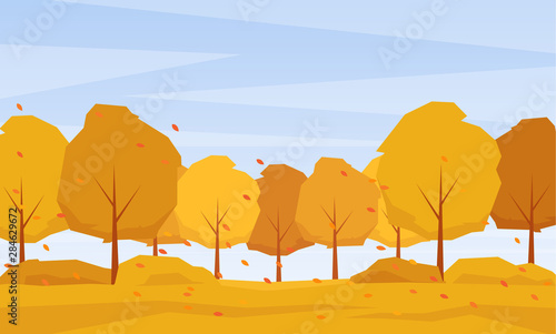 Foto auf AluDibond Himmelblau Autumn landscape with trees and fall leaves on the wind.